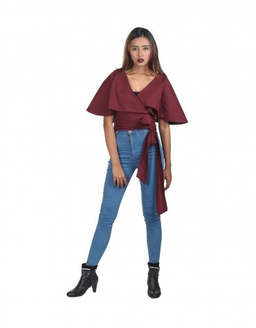 Caped Wrap Top