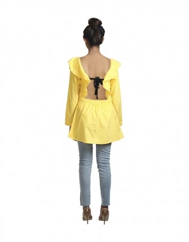 Frilled Dress with Low Back