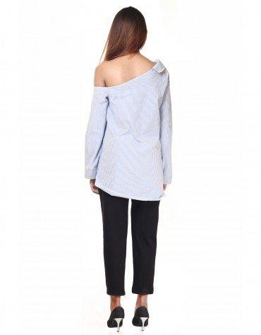 Striped One-Shoulder Shirt
