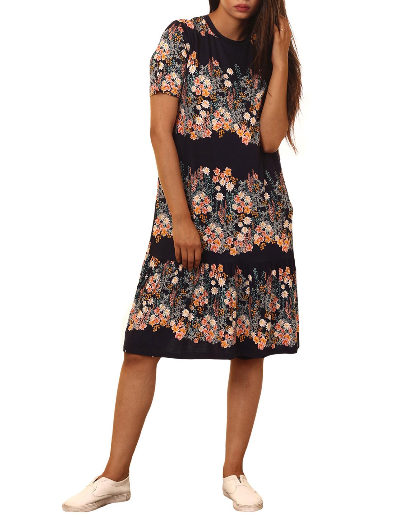 Printed Ruffle Midi Dress