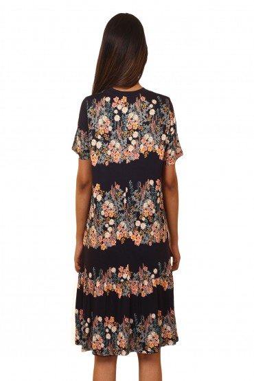 Printed Ruffle Midi Dress