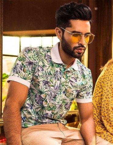 Tropical Print Polo Shirt