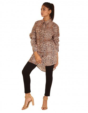 Oversized Leopard Print Shirt