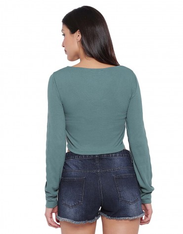 Long Sleeve Ribbed Ruched Detail Top